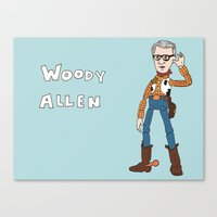 woody allen Canvas Prints featuring Woody Allen by Jessica Mae