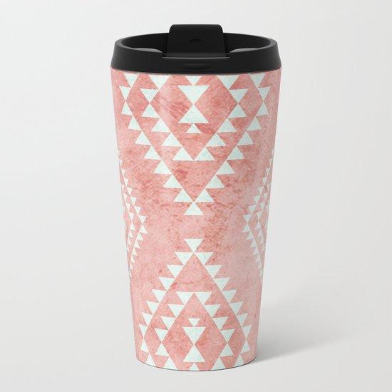 mint & coral tribal pattern (2) Metal Travel Mug