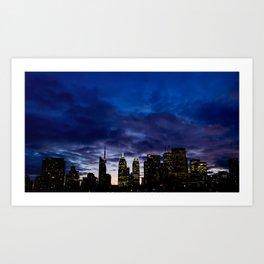 Skyline City Sunset Art Print