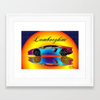 lamborghini Framed Art Prints featuring Lamborghini Aventador by JT Digital Art
