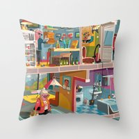 budapest Throw Pillows featuring Greetings from Budapest by Zsolt Vidak
