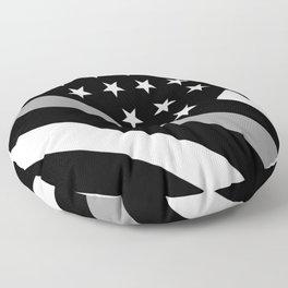U.S. Flag: Black Flag & The Thin Grey Line Floor Pillow