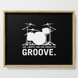 Life, Liberty, and the pursuit of Groove, drummer's drum set silhouette illustration Serving Tray