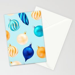 Christmas Bulbs Pattern Stationery Cards