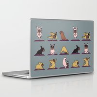 frenchie Laptop & iPad Skins featuring Frenchie Yoga by Huebucket