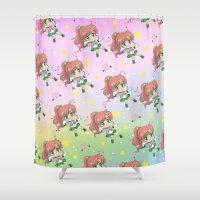 sailor jupiter Shower Curtains featuring Sailor Jupiter Pattern by Neo Crystal Tokyo