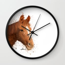 Brown and White Horse Wall Clock
