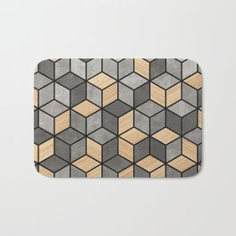 Concrete and Wood Cubes Bath Mat