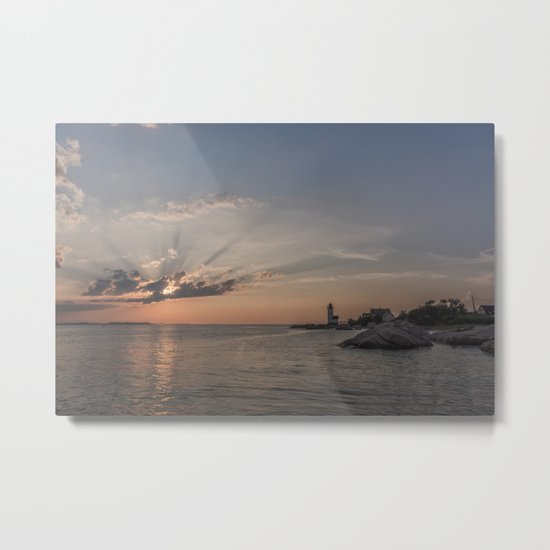 Sunbeams at Annisquam lighthouse Metal Print