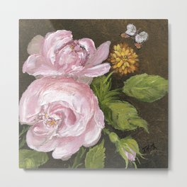 Pink Rose & Butterfly Metal Print