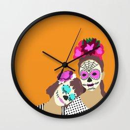 Sugar Skull Halloween Girls Orange Wall Clock