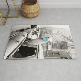 Mint Green Bubble Gum Llama taking a New York Taxi black and white photograph Rug