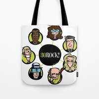 30 rock Tote Bags featuring 30 Rock by Miguel Roselló