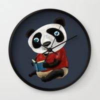 panda Wall Clocks featuring Panda by gunberk