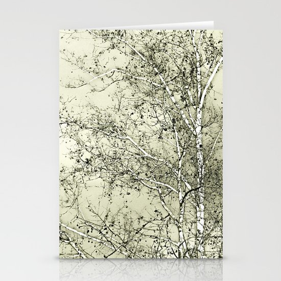 Sycamore Tree, Inky Green Toile Version Stationery Cards