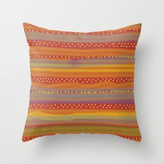 Red with Stripes and Dots Throw Pillow