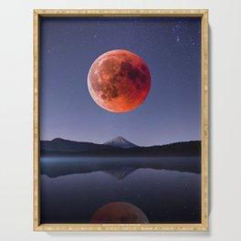 Blood Moon over Mt Rainier Washington State Serving Tray
