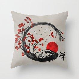 Zen Enso Circle and Sakura Branches Throw Pillow
