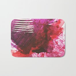 You set me on fire: a vibrant, colorful mixed media piece in red, purple, black and white Bath Mat