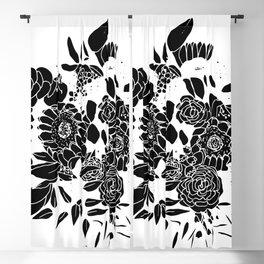 Floral Bouquet Explosion In Black Blackout Curtain