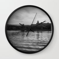 moscow Wall Clocks featuring Moscow river by MagicKucher