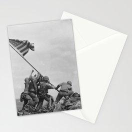 American Troops raising American flag on Mount Suribachi, Iwo Jima, 23 February 1945 Stationery Cards