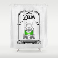 the legend of zelda Shower Curtains featuring Zelda legend - Green potion  by Art & Be