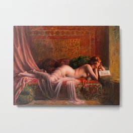 La Lecture 19th Century Redhead Reading Book on Divan nude still life painting by Delphin Enjolras Metal Print