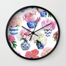 Ginger Jar Peonies Wall Clock