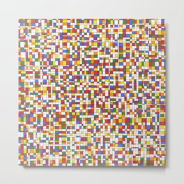 Rainbow Grid with White Background - Withstanding Metal Print