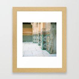 tiles in Medersa Ben Youssef Framed Art Print