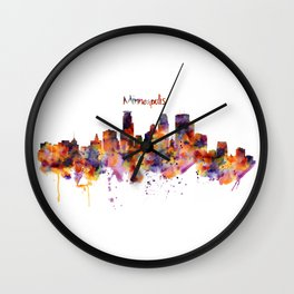 Minneapolis Watercolor Skyline Wall Clock