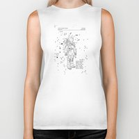 nasa Biker Tanks featuring NASA Space Suit Patent - White on Black by Elegant Chaos Gallery