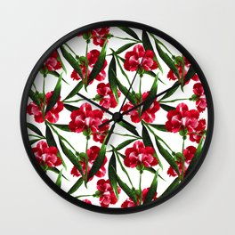 Painted Red Flowers Wall Clock