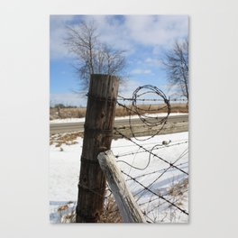 Winter Fence Post Canvas Print
