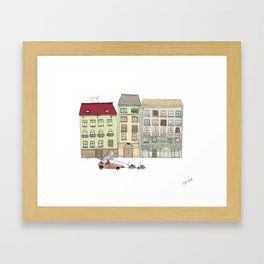 Budapest and the wandering cat Framed Art Print