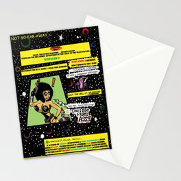 """Space Chick & Nympho: Vampire Warrior Party Girl Comix #1 - Comic Book Page """" In A Galaxy Not So Far Stationery Cards"""