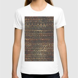 Modern Dark Brown Copper Tribal Ethnic Pattern T-shirt