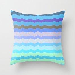 Bright Blue Bars Throw Pillow