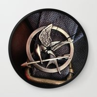 mockingjay Wall Clocks featuring Mockingjay by AndyGD
