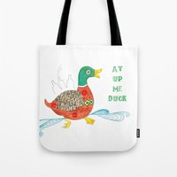 duck Tote Bags featuring Duck by Shelley Jayne Illustration
