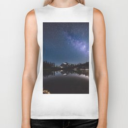 Summer Stars - Galaxy Mountain Reflection - Nature Photography Biker Tank