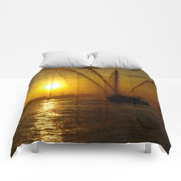 Fireboat at Sunset Comforters