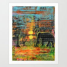 Sunset Walk Art Print