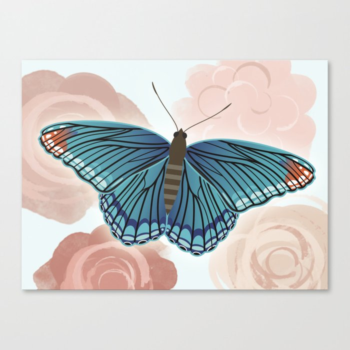 Blue Butterfly and Roses Canvas Print
