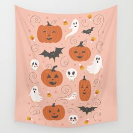 Pumpkin Party on Blush Pink Wall Tapestry