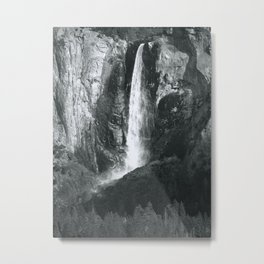 Bridalveil Falls. Yosemite California in Black and White Metal Print