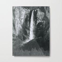 Bridalveil Falls. Yosemite California in Black and White Metal Print