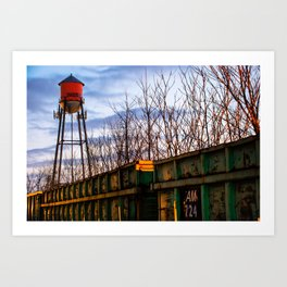 Rogers Arkansas Water Tower Along The Rail Art Print