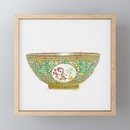 A FINE YELLOW-GROUND FAMILLE ROSE 'MEDALLION' BOWL watercolor by Ahmet Asar Framed Mini Art Print